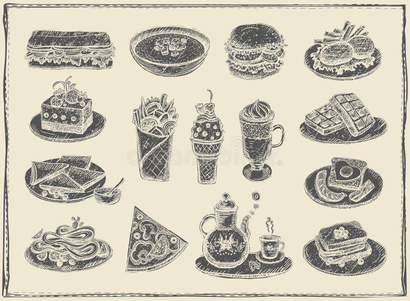 Räcka den utdragna grafiska illustrationen av blandad mat, efterrätter och drinksPrint royaltyfri illustrationer