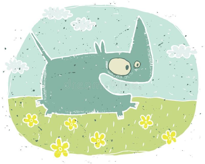 Räcka den utdragna grungeillustrationen av den gulliga noshörningen på bakgrund med royaltyfri illustrationer