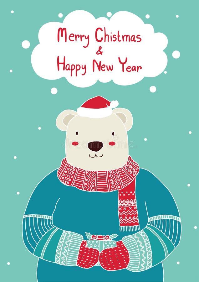 Räcka den utdragna gulliga björnen den hållande gåvaasken för julkortmallar Jul affisch, vektorillustration Mall för att hälsa Sc royaltyfri illustrationer