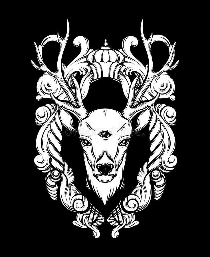 Räcka den utdragna härliga handen skissade hjortar med den barocka blom- ramen vektor illustrationer