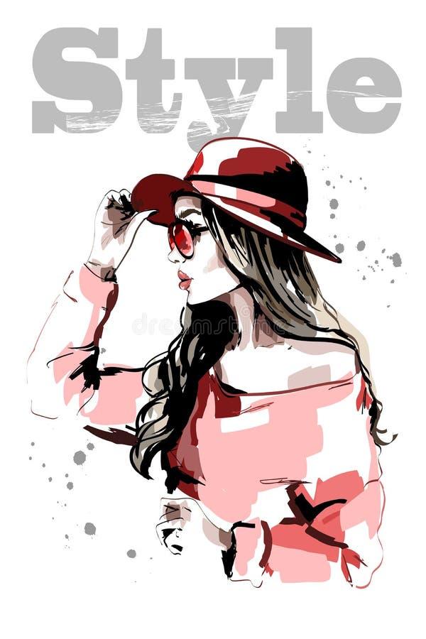 Räcka den utdragna härliga unga kvinnan i röd hatt fashion kvinnan Stilfull damstående skissa stock illustrationer