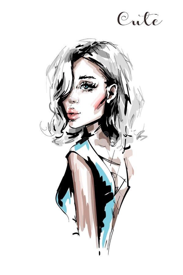 Räcka den utdragna härliga unga kvinnan med blont hår Stilfull elegant flicka fashion ståendekvinnan vektor illustrationer