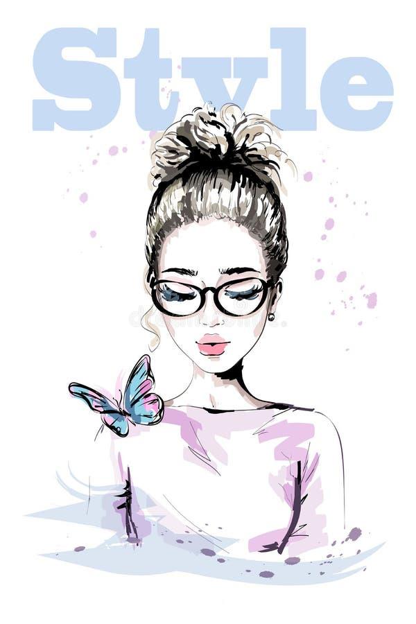Räcka den utdragna härliga unga kvinnan med den färgrika fjärilen Modekvinna med den stilfulla frisyren Gullig flicka i glasögon vektor illustrationer