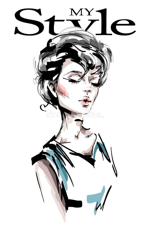 Räcka den utdragna härliga unga kvinnan med stilfull frisyr för flickaglamour för bakgrund svart illustration fashion ståendekvin royaltyfri illustrationer