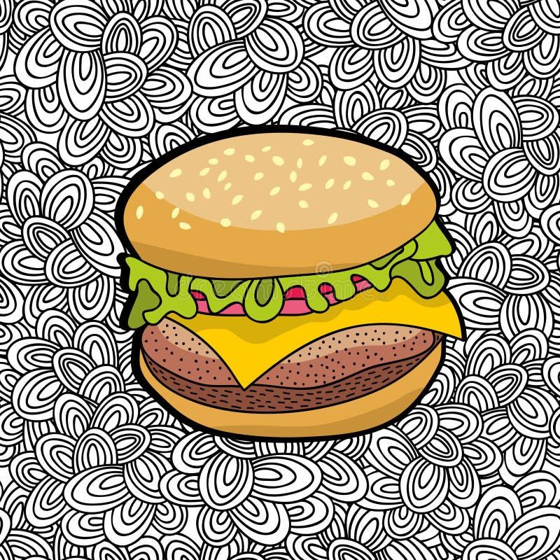 Räcka den utdragna hamburgaren från fastfood på klotterbakgrund royaltyfri illustrationer