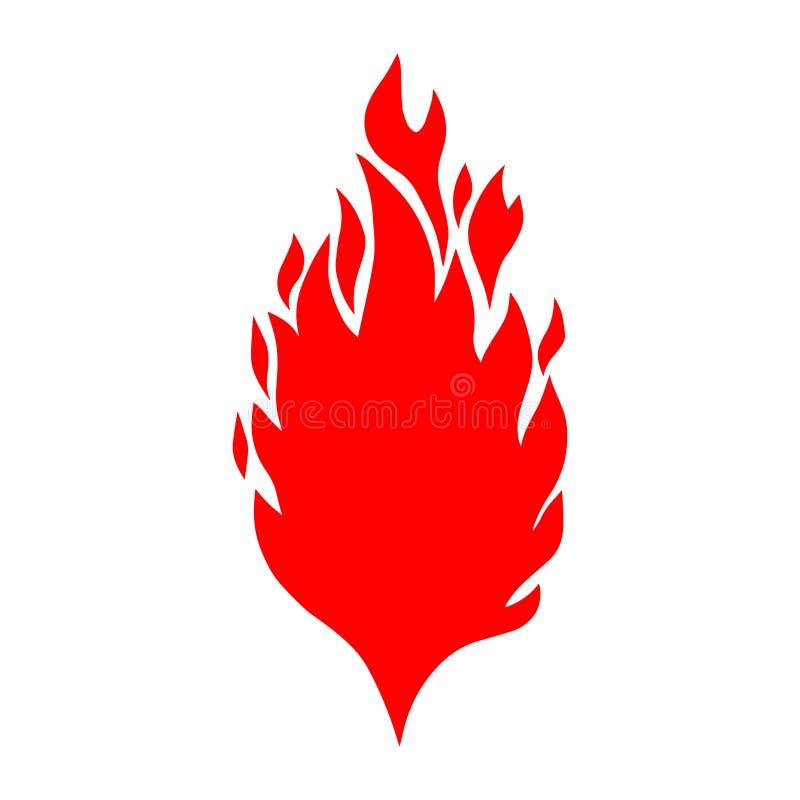 Räcka den utdragna illustrationen av brand på vit bakgrund Planlägg beståndsdelen för logoen, etiketten, emblemet, tecknet, affis vektor illustrationer