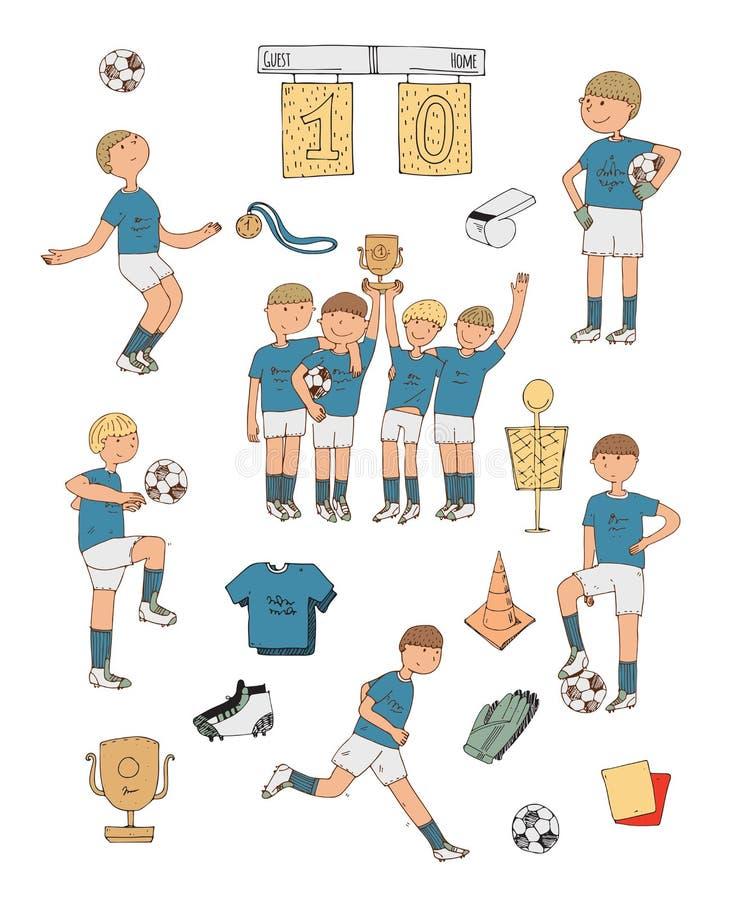 Räcka den utdragna illustrationen med färgrika fotbollspelare som isoleras på vit bakgrund Fotbollmaterial, lyckligt segra lag, t royaltyfri illustrationer