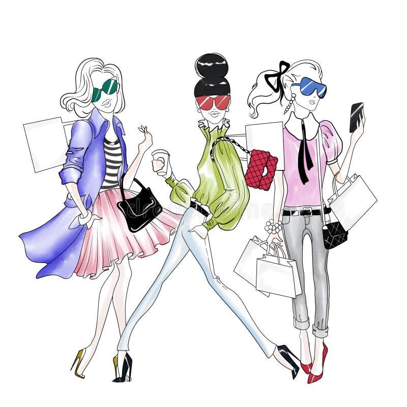 Räcka den utdragna illustrationen - nätta modeflickor som gör shopping royaltyfri illustrationer