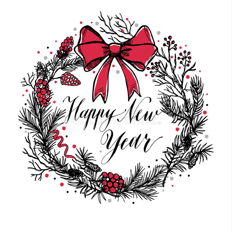 Räcka den utdragna julkransen med den röda pilbågen och calligraphic text royaltyfri illustrationer