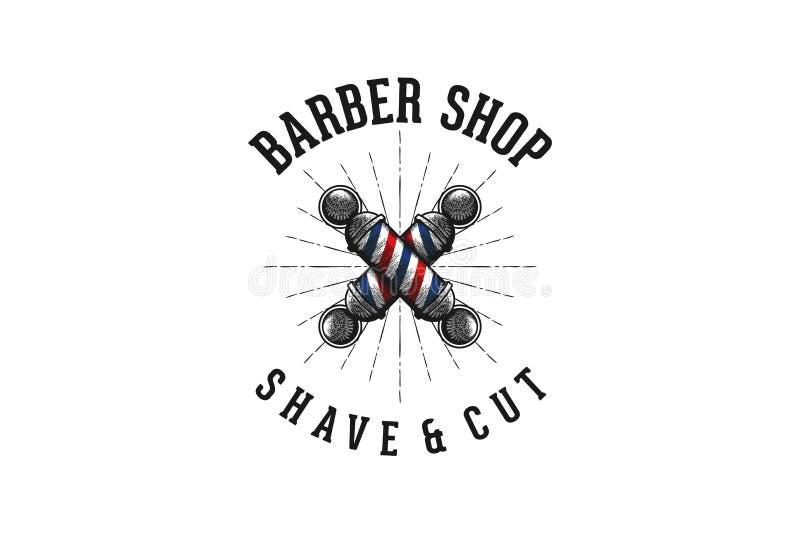 räcka den utdragna korsade barberarepolen, tappningbarberaren shoppar logoinspiration som isoleras på vit bakgrund royaltyfri illustrationer