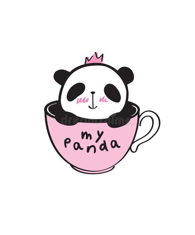 Räcka den utdragna lilla gulliga pandan i en rosa kopp royaltyfri illustrationer