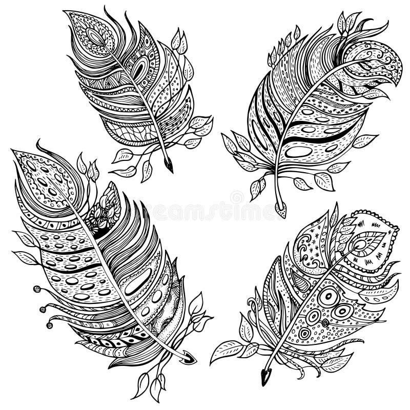 Räcka den utdragna linjen konst av fjädrar med prydnader stock illustrationer