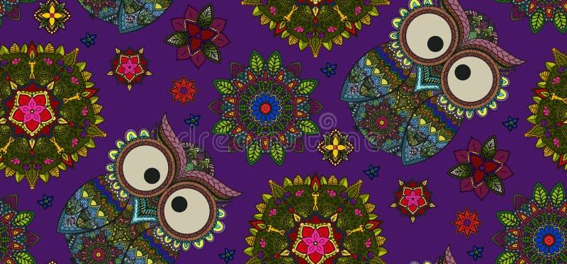 Räcka den utdragna mandalaen och den dekorativa ugglan sömlös modell, blom- D vektor illustrationer