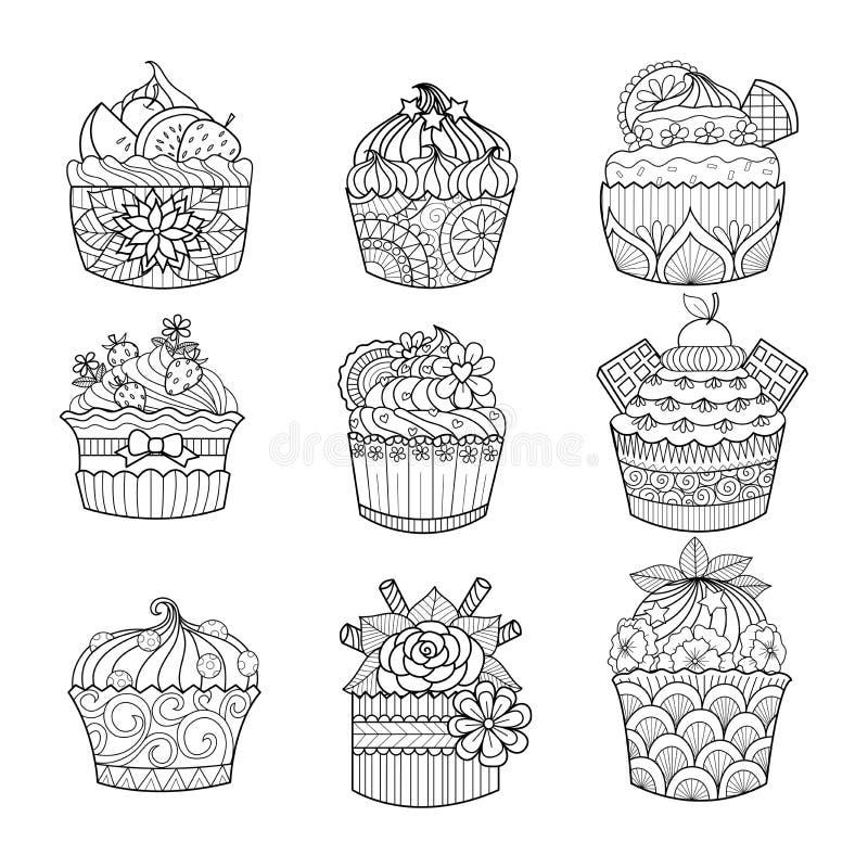 Räcka den utdragna muffin för färgläggningboken för vuxen människa royaltyfri illustrationer