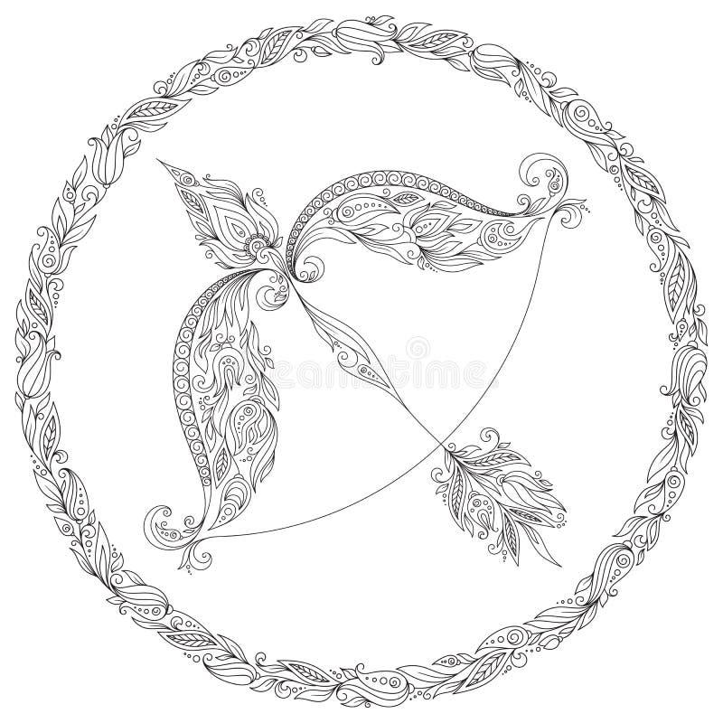 Räcka den utdragna pilbågen och pilen i blom- prydnad stock illustrationer