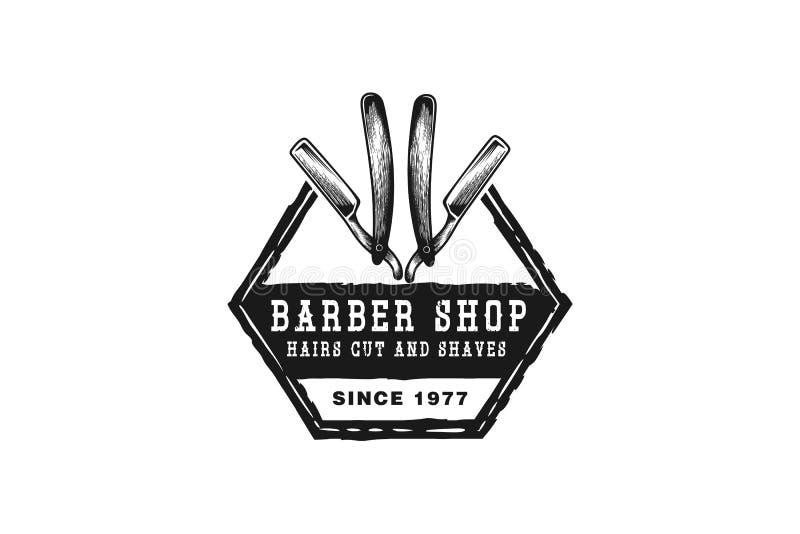 räcka den utdragna rakbladet, inspiration för barberarelogodesigner som isoleras på vit bakgrund arkivfoto