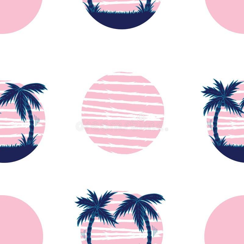 Räcka den utdragna retro vaweillustrationen av sommarsemestern på den tropiska stranden royaltyfri illustrationer