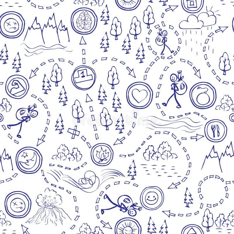 Räcka den utdragna sömlösa modellen, översikter, picknicken, loppet som fotvandrar och campar vektor illustrationer