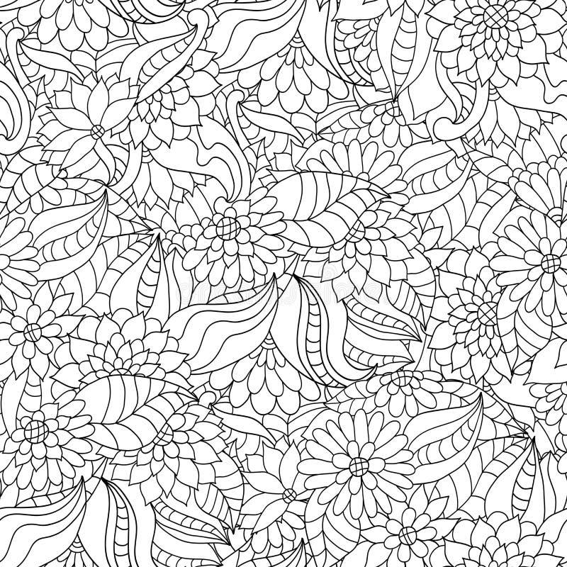 Räcka den utdragna sömlösa modellen med blommor och sidor för den vuxna anti-spänningen som färgar boken royaltyfri illustrationer