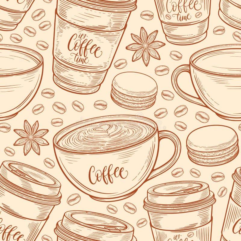 Räcka den utdragna sömlösa modellen med kaffekoppar, bönor, rånar, makron Färgrik bakgrund i retro färger för tappning stock illustrationer
