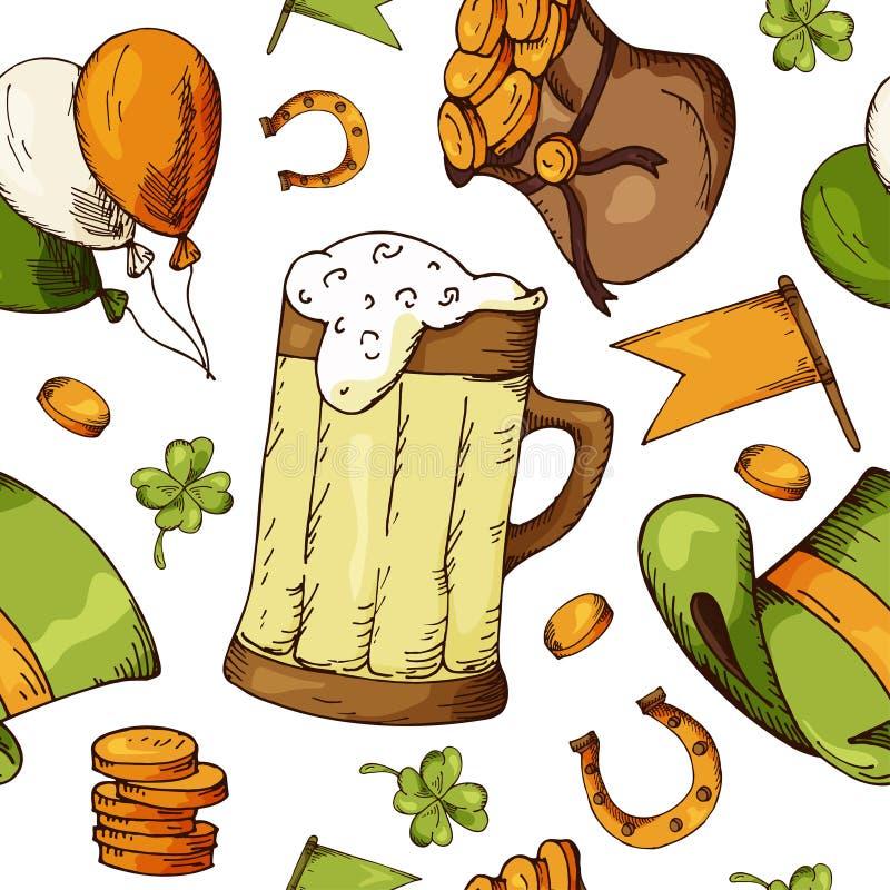 Räcka den utdragna sömlösa modellen med Sts Patrick dagbeståndsdelar Vektorn skissar illustrationen vektor illustrationer