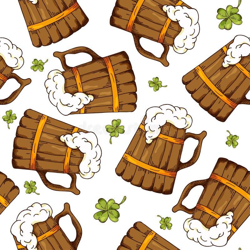 Räcka den utdragna sömlösa modellen med Sts Patrick dagbeståndsdelar Vektorn skissar illustrationen stock illustrationer
