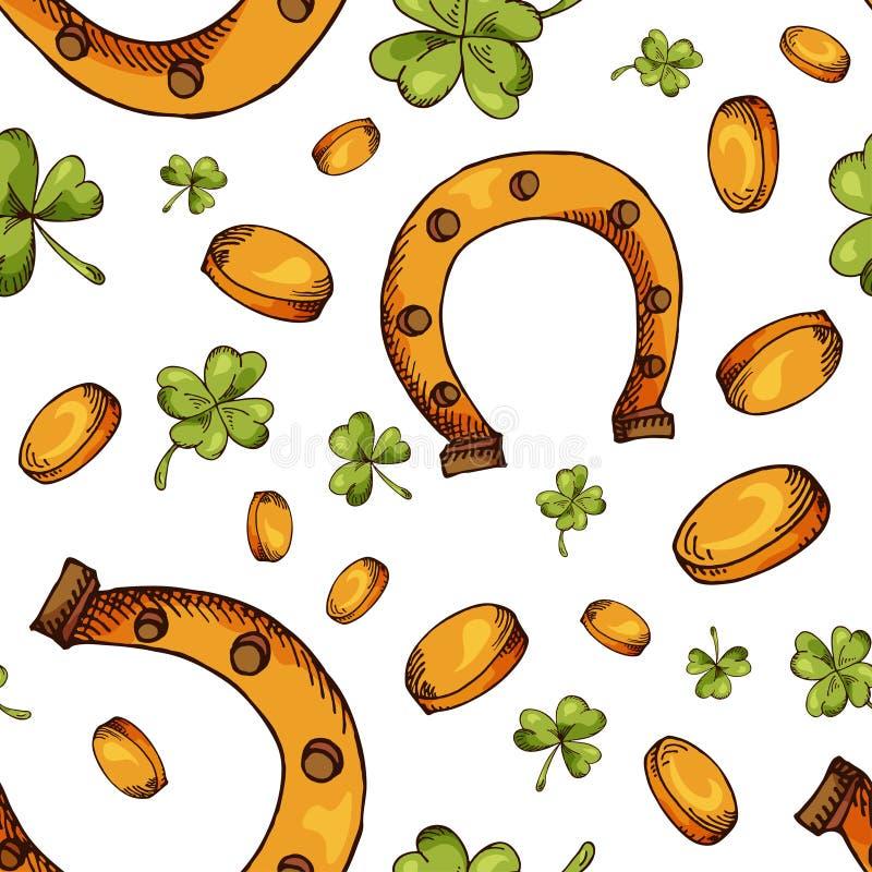 Räcka den utdragna sömlösa modellen med Sts Patrick dagbeståndsdelar Vektorn skissar illustrationen royaltyfri illustrationer