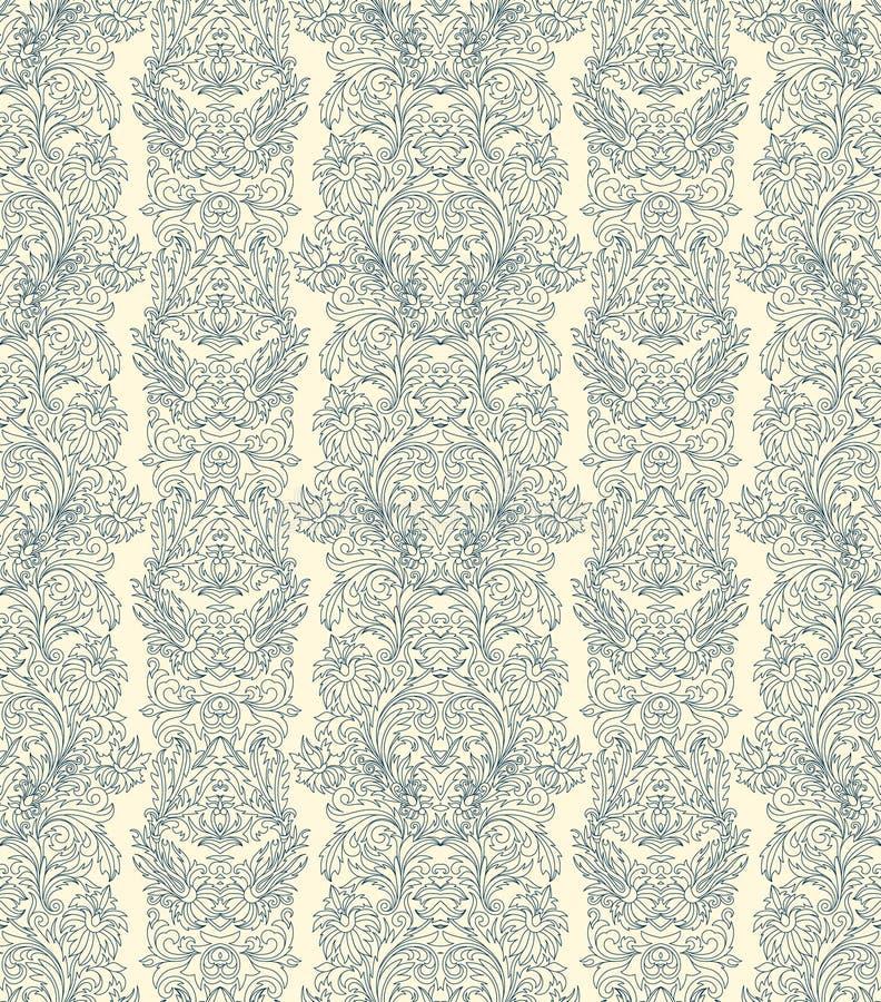 Räcka den utdragna sömlösa stiliserade lövverk gjorde randig damast bakgrundsvektorn vektor illustrationer