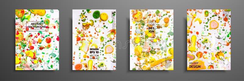 Räcka den utdragna samlingen av kortet som göras av hemlagad textur för akryl Vätskefärgrik textur Fluid konst abstrakt målning royaltyfri illustrationer