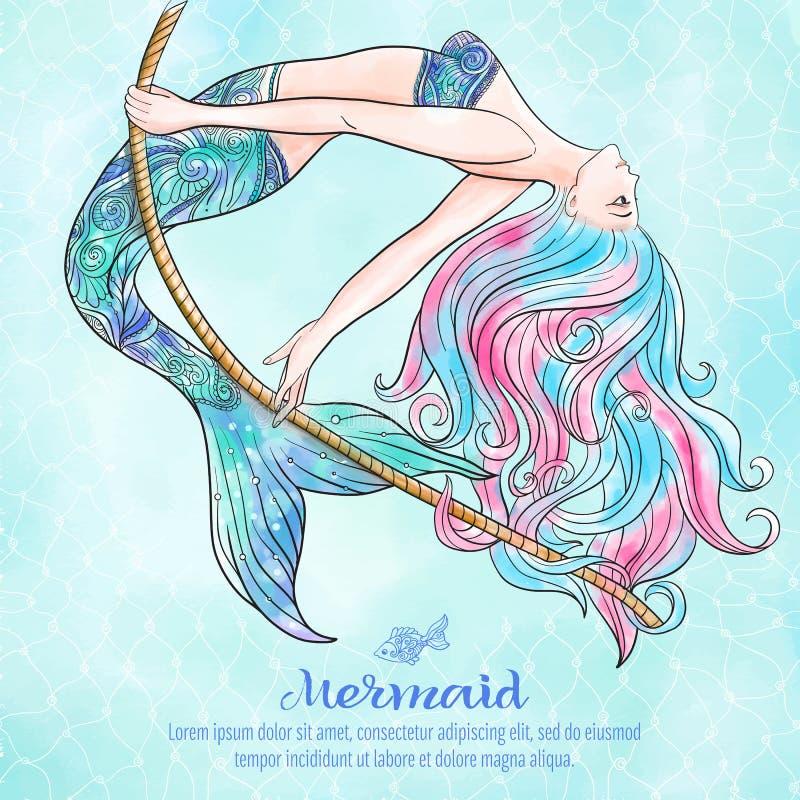Räcka den utdragna sjöjungfrun som svänger på ett rep, på vattenfärgbakgrund, stock illustrationer
