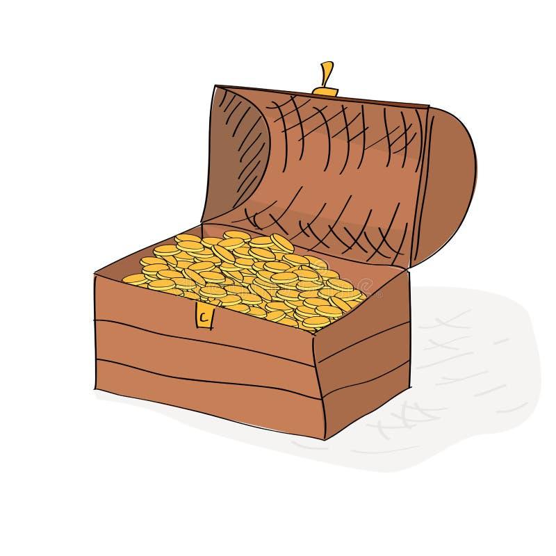 Räcka den utdragna skattbröstkorgen mycket av guld- mynt vektor illustrationer