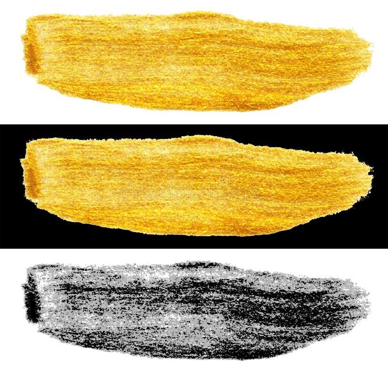 Räcka den utdragna slaglängden för guld- och för svartfärgmålarfärg suddfläck vektor illustrationer