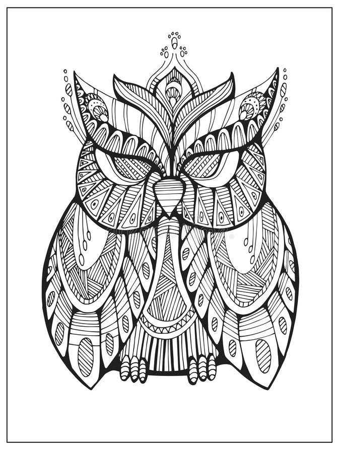 Räcka den utdragna stiliserade ugglan, fågeltotemet för vuxen färgläggningsida stock illustrationer