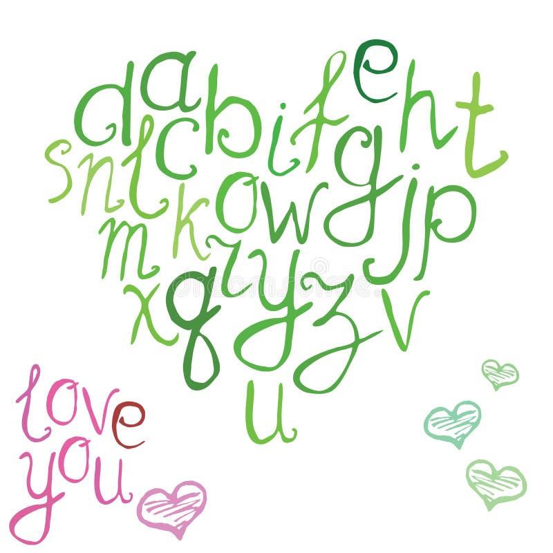 Räcka den utdragna stilsorten, vektorillustration av handen borstade calligraphic bokstäver i form av hjärta royaltyfri illustrationer