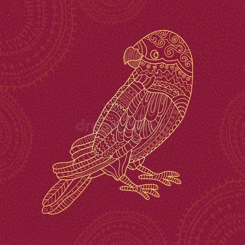 Stylized mönstrade papegojan royaltyfri illustrationer