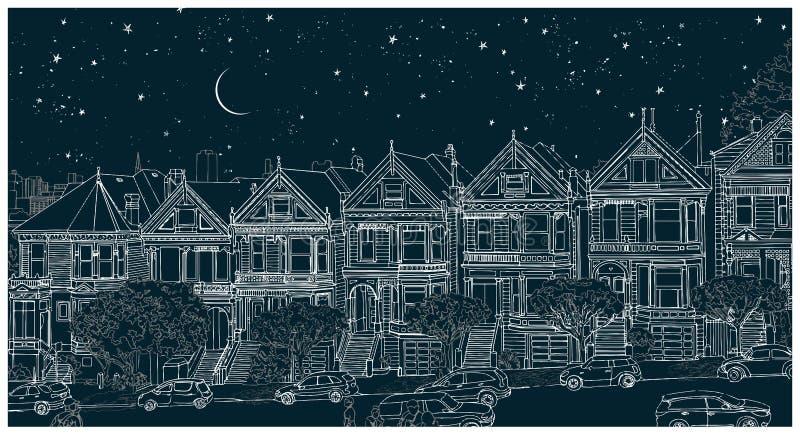 Räcka den utdragna svartvita illustrationen av staden av San Francisco på natten vektor illustrationer