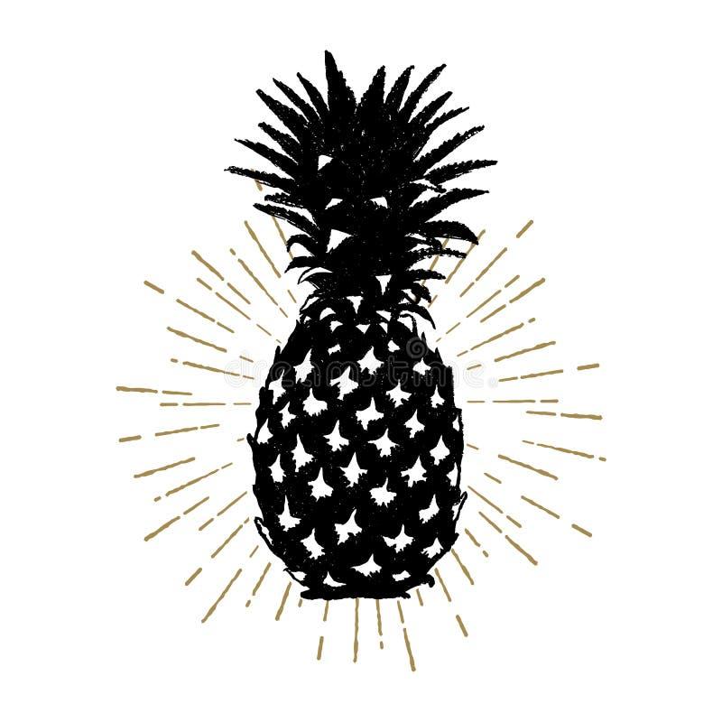 Räcka den utdragna symbolen med den texturerade ananasvektorillustrationen stock illustrationer