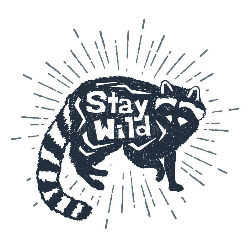 Räcka den utdragna symbolen med den texturerade tvättbjörnvektorillustrationen stock illustrationer