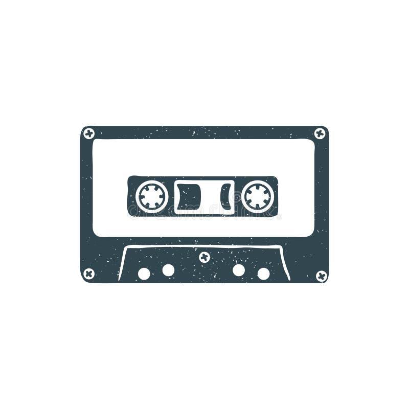Räcka den utdragna 90-tal det themed emblemet med det texturerade ljudkassettbandet vektor royaltyfri illustrationer