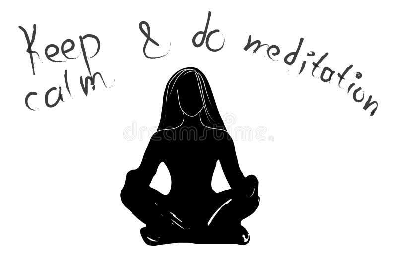 Räcka den utdragna typografiaffischen, svart vit färg Stillhet för motivationcitationsteckenuppehälle och gör yoga som isoleras K vektor illustrationer