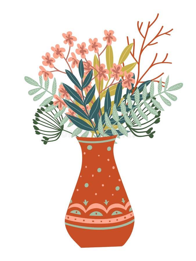 räcka den utdragna vasen av blommor, sidor och filialer vektor illustrationer