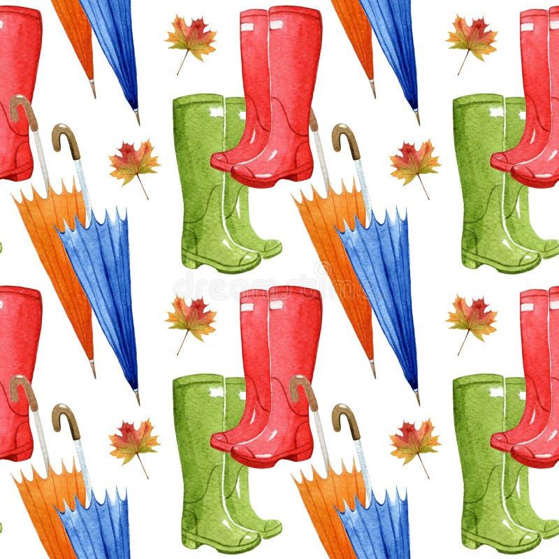 Räcka den utdragna vattenfärgen den sömlösa modellen med höstbeståndsdelar Paraply blad, gummistöveler vektor illustrationer