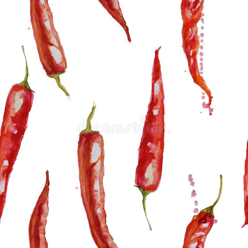 Räcka den utdragna vattenfärgen den sömlösa modellen med röda kyliga peppar stock illustrationer