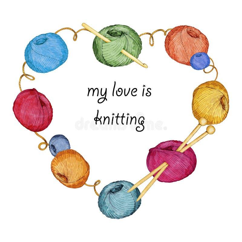 Räcka den utdragna vattenfärgen hjärta-formade kransen som består av handarbetetillbehör stock illustrationer
