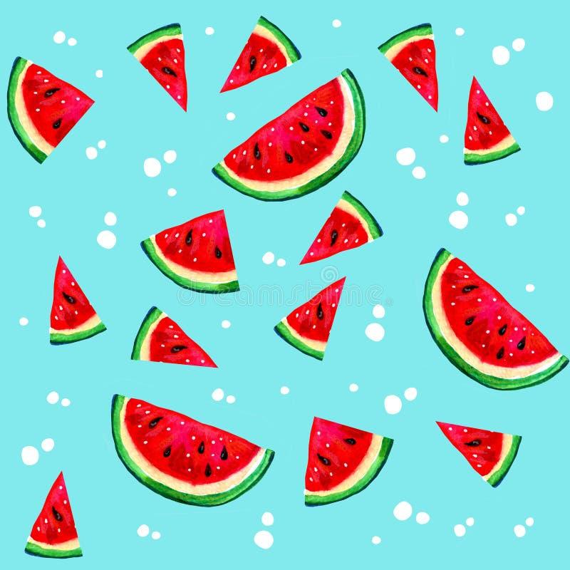 Räcka den utdragna vattenfärgen den sömlösa modellen med tecknad filmvattenmelon på blå bakgrund royaltyfri illustrationer