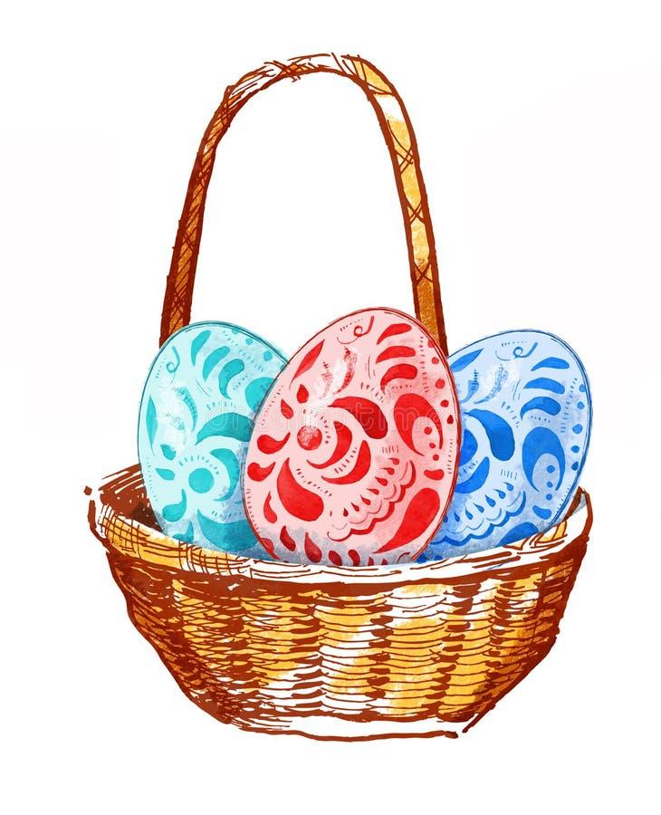 Räcka den utdragna vattenfärgillustrationen av korgen med easter ägg stock illustrationer