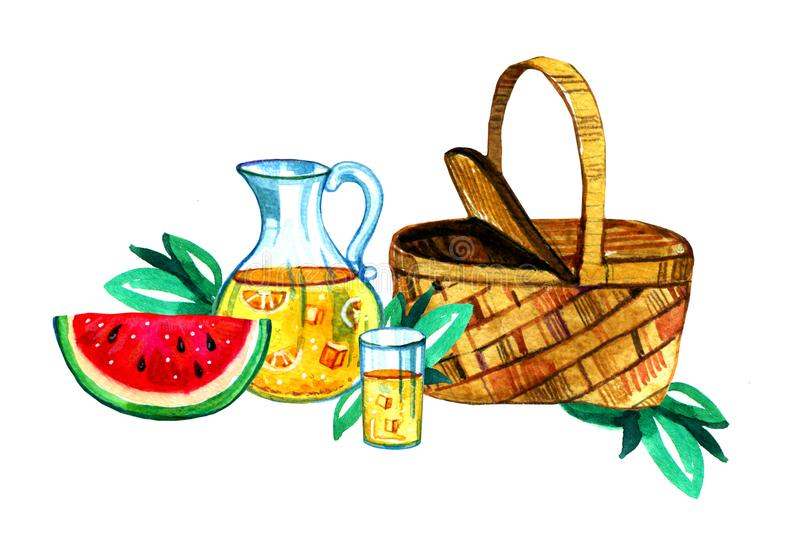 Räcka den utdragna vattenfärgillustrationen med korgen, lemonad och vattenmelon Picknick, sommar som ut äter, och grillfest royaltyfri illustrationer