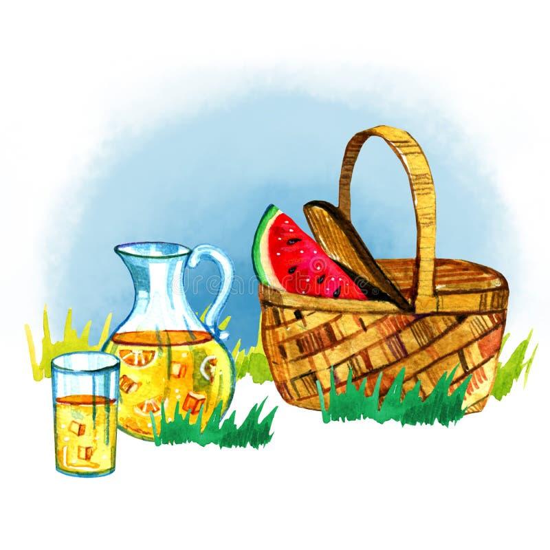Räcka den utdragna vattenfärgillustrationen med korgen, vattenmelon och lemonad på gräs Picknick, sommar som ut äter, och grillfe royaltyfri illustrationer