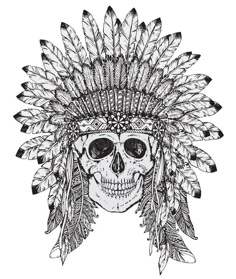Räcka den utdragna vektorillustrationen av den indiska huvudbonaden med människan sk royaltyfri illustrationer