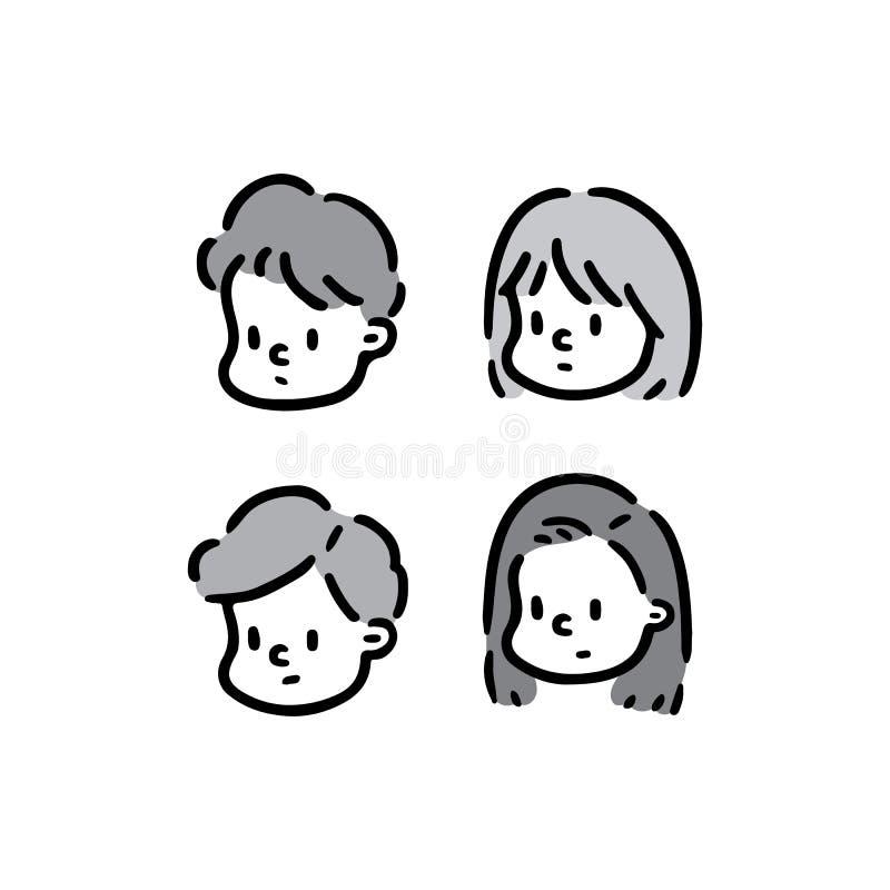 Räcka den utdragna vektorillustrationen av framsidaflicka- och pojkeuppsättningen royaltyfri bild